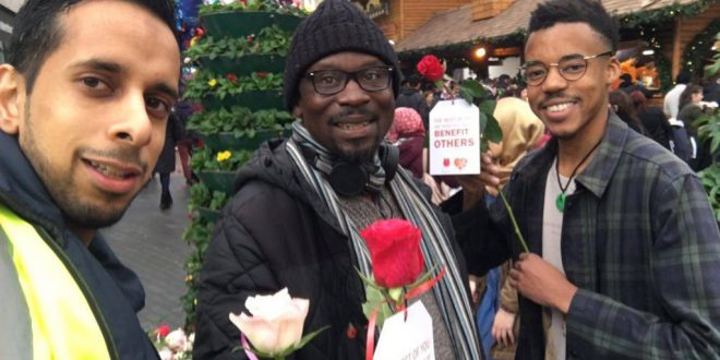 Young Muslims give out roses in Birmingham in honour of Prophet Muhammad